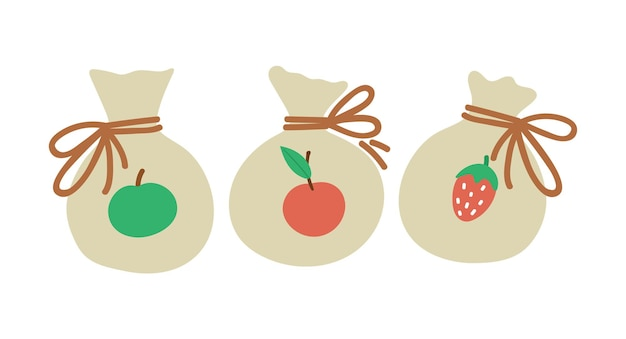 Vector gedroogd fruit in voddenzakken. leuke grappige dessertillustratie voor kaart, poster, printontwerp. heldere gezonde voeding concept voor kinderen geïsoleerd op een witte achtergrond.