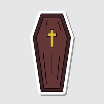 Vector geïsoleerde cartoon doodskist sticker halloween platte pictogram kist silhouet dia de los muertos