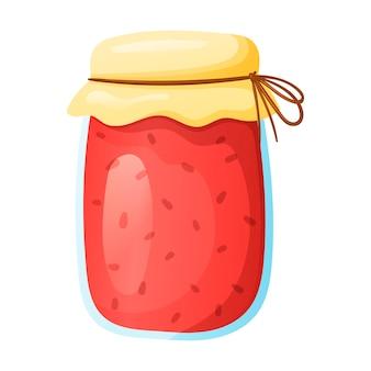 Vector geïsoleerde cartoon illustratie van een glazen pot met rode bessenjam met een deksel aan een touwtje.