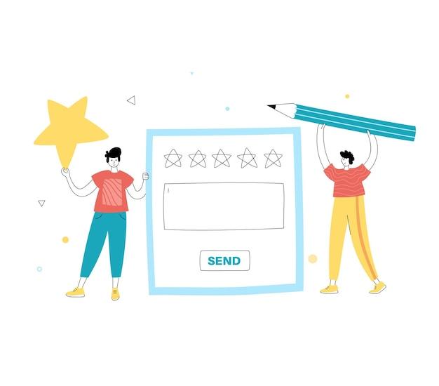 Vector geïsoleerde illustratie van klanten die tevredenheidsbeoordeling kiezen en beoordeling achterlaten.