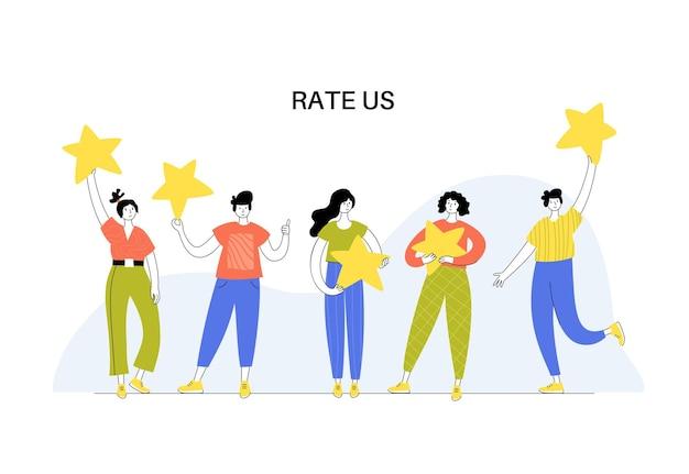 Vector geïsoleerde illustratie van mensen permanent en ster te houden. feedback en klantbeoordeling.