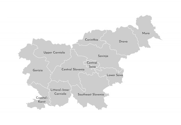 Vector geïsoleerde illustratie van vereenvoudigde administratieve kaart van slovenië