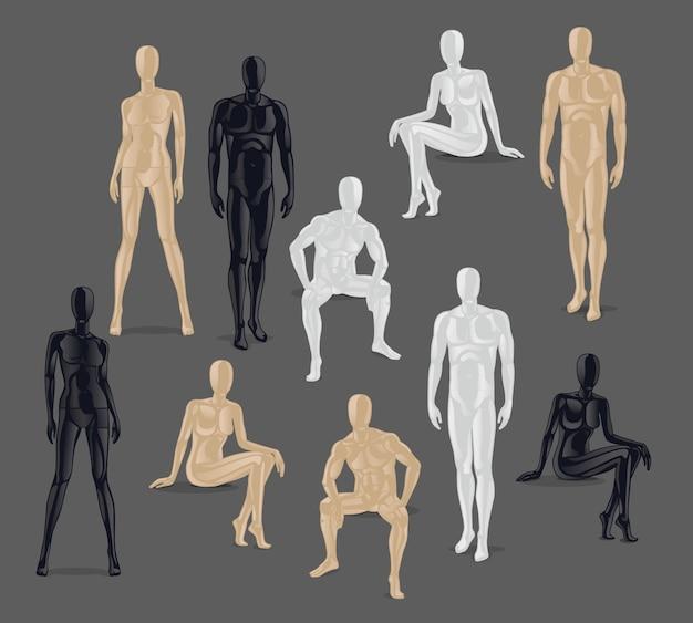 Vector geïsoleerde mannequins. verschillende poses en kleuren mannelijke en vrouwelijke mannequin pictogrammen.