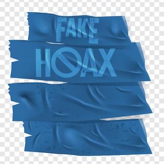 Vector geïsoleerde plakband met hoax en fake rubberen set