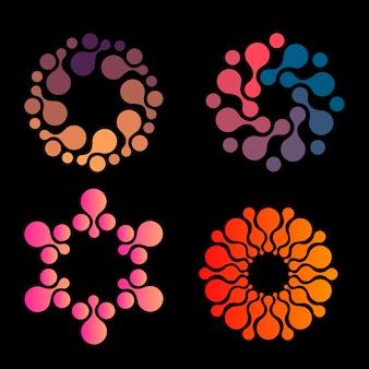 Vector geïsoleerde zon logo ontwerp sjabloon abstracte stippen symboolpictogram ronde vorm kleurrijke logo's set