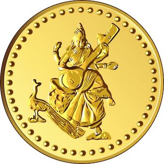 Vector geld gouden munt met de afbeelding van shiva