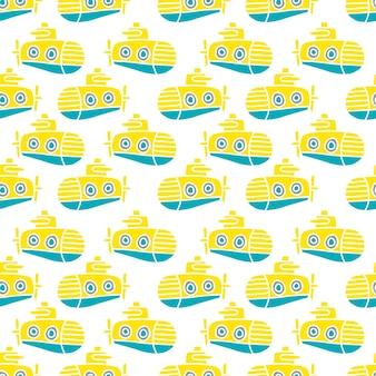 Vector gele onderzeeër naadloze patroon