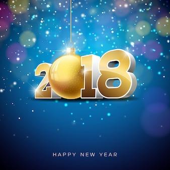 Vector gelukkig nieuwjaar 2018 illustratie op glanzende verlichting achtergrond met typografie design.