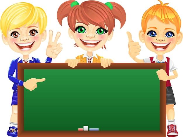 Vector gelukkige glimlach kinderen met banner blackboard