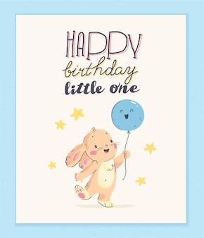 Vector gelukkige verjaardag felicitatie kaart ontwerp met schattige kleine baby konijn houden luchtballon en tekst felicitatie geïsoleerd op lichte achtergrond. goed voor hb-kaart, baby shower feestuitnodiging etc.