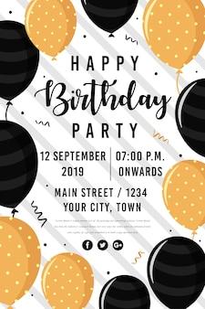 Vector gelukkige verjaardag partij poster