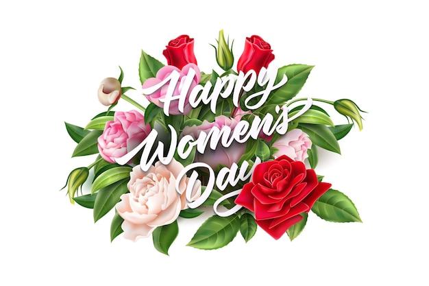 Vector gelukkige vrouwendag belettering in realistische rozen en pioenrozen realisitc boeket