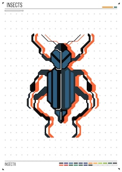Vector geometrische bug of kever. insect op posterachtergrond