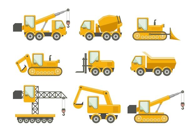 Vector geplaatste bouwpictogrammen. bulldozer en machines, vrachtwagenlading en kraan, graafmachine en mixer