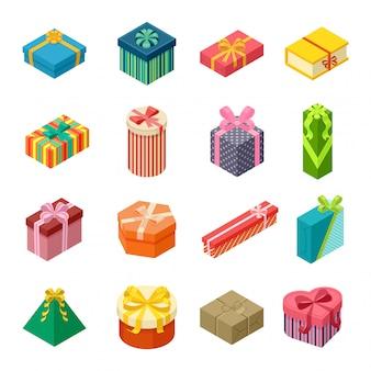 Vector geschenk doos isometrische weergave kartonnen container pack