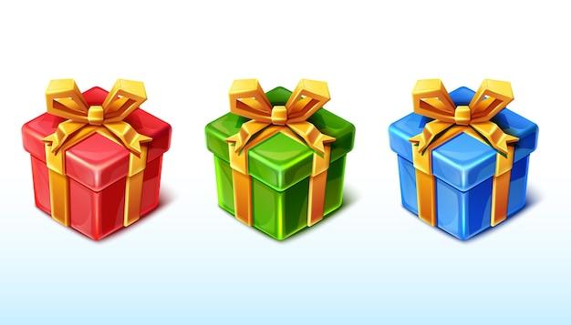 Vector geschenkdoos presenteert in rode, blauwe en groene kleur.
