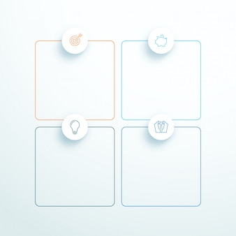Vector geschetst 3d vierkante tekstvakken met moderne iconen