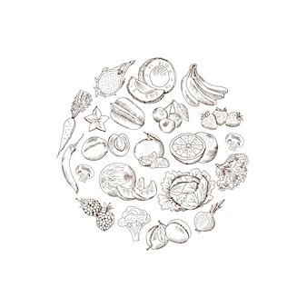 Vector geschetst hand getrokken groenten en vruchten illustratie in rond gemaakte vormvorm die op witte achtergrond wordt geïsoleerd
