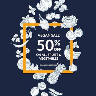 Vector geschetste groenten en fruitverkoopachtergrond met gewaagd kader. verkoop groenten en fruit winkel illustratie