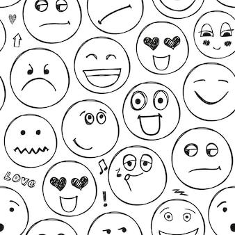 Vector gezichten naadloze patroon. emoties, doodle, uit de vrije hand tekenen achtergrond. zwart en wit