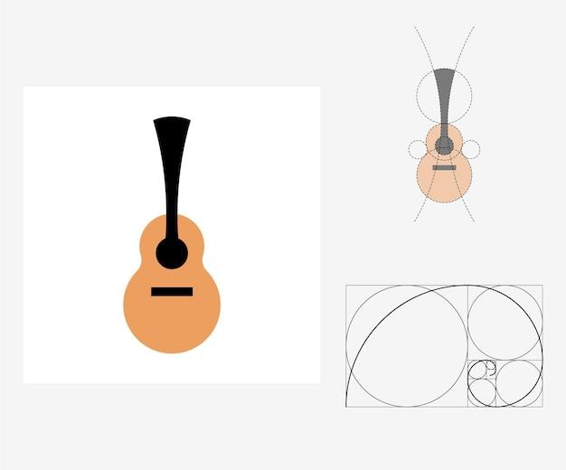 Vector gitaar in gulden snede stijl. bewerkbare illustratie