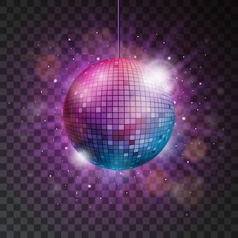 Vector glanzende disco bal illustratie op een transparante achtergrond.