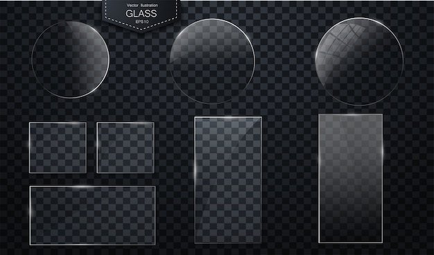 Vector glasbanners op transparante achtergrond plastic kentekens of platen met transparantie