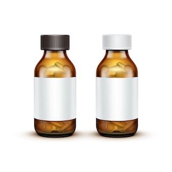 Vector glazen medische fles met tabletten pillen