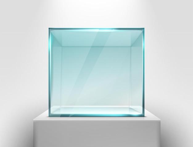 Vector glazen vierkante showcase op een witte standaard voor presentatie