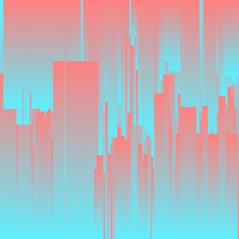 Vector glitch-achtergrond. futuristische stad, abstracte wolkenkrabbers.
