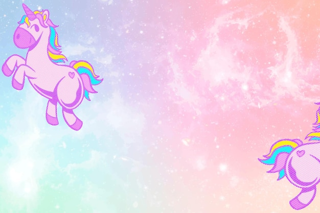 Vector glittery eenhoorn roze en blauw kleurrijk pastel behang