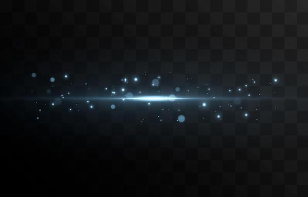 Vector gloeiende lichtlijn magische gloed blauw licht lichtdeeltjes stof neonlijn gloeiende lijn Premium Vector