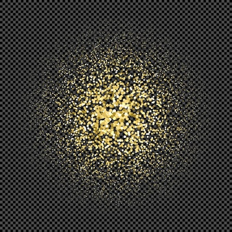 Vector goud kleur deeltjes vonken glanzend stof effect confetti textuur kunst luxe magie rijke artistieke abstracte radiale gradiënt donkere achtergrond
