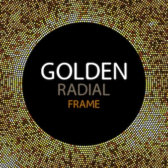 Vector gouden disco licht frame of lovertjes ronde frame
