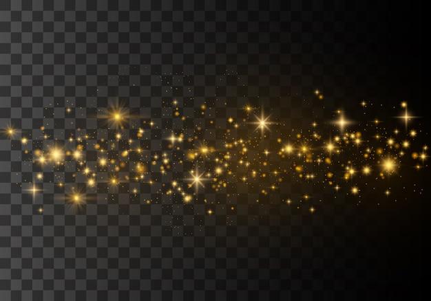 Vector gouden fonkelende komeetstaart.