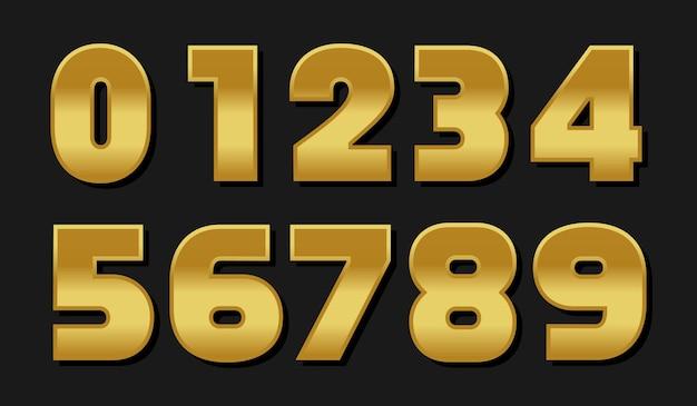 Vector gouden nummers instellen