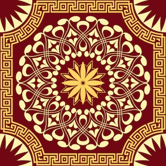 Vector gouden patroon van spiralen, wervelingen en kettingen