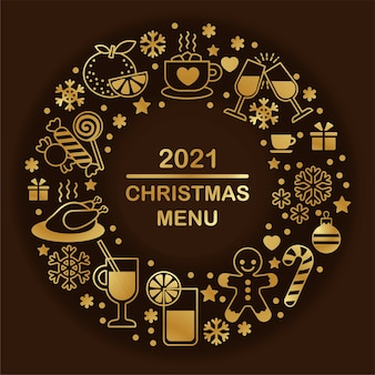 Vector gouden pictogrammenset voor kerstmis en nieuwjaar ontwerp. sjabloon voor menu. eenvoudige contourstijl