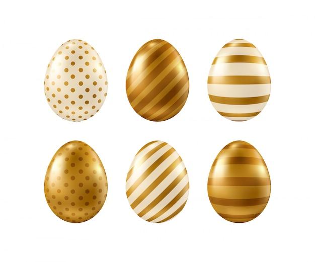 Vector gouden realistische paaseieren die op witte achtergrond worden geïsoleerd.