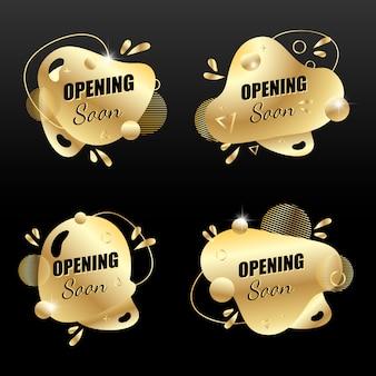 Vector gouden set sociale media tag binnenkort geopend