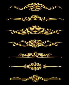 Vector gouden sierlijke randen instellen zwarte achtergrond