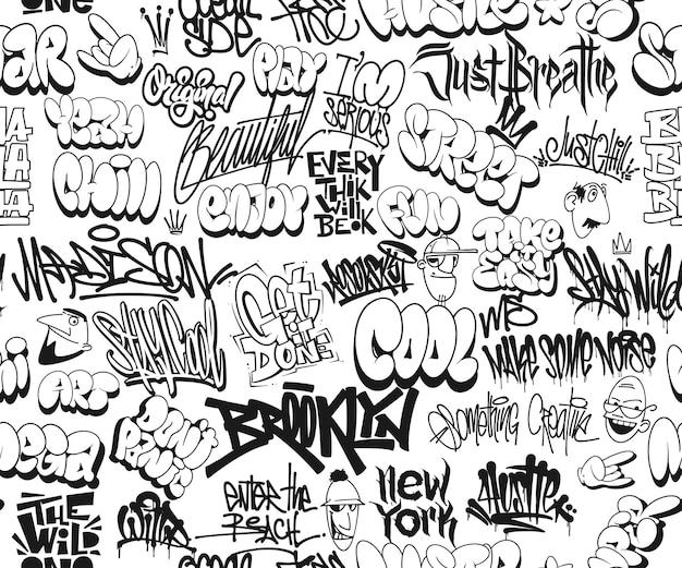 Vector graffiti-tags, naadloos patroon. t-shirtontwerp, textiel, banner.