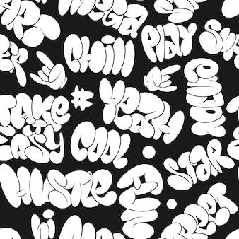 Vector graffiti zeepbel tags, naadloos patroon. element voor t-shirtontwerp, textiel, banner