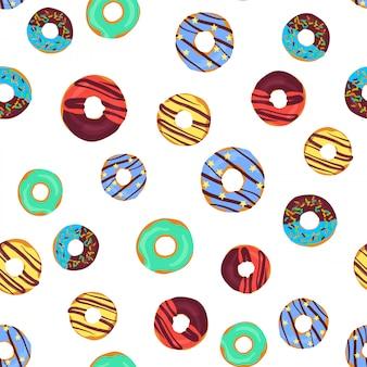 Vector grappig naadloos patroon met chocolade donuts