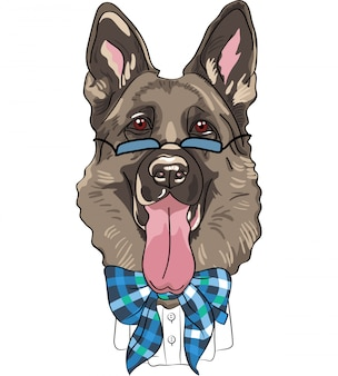 Vector grappige cartoon hipster hond duitse herder