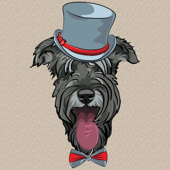 Vector grappige cartoon hipster hond schnauzer