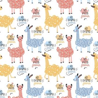 Vector grappige cartoon lama in trendy stijl scandinavische stijl naadloze patroon met lama