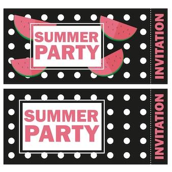 Vector grappige zomer ongebruikelijke achtergrond uitnodiging met watermeloen - zomerfeest geïsoleerd op zwarte background