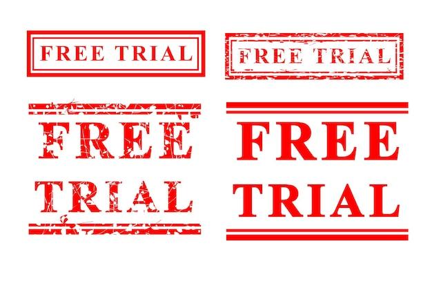 Vector gratis proefversie, rode grunge rubberen stempel