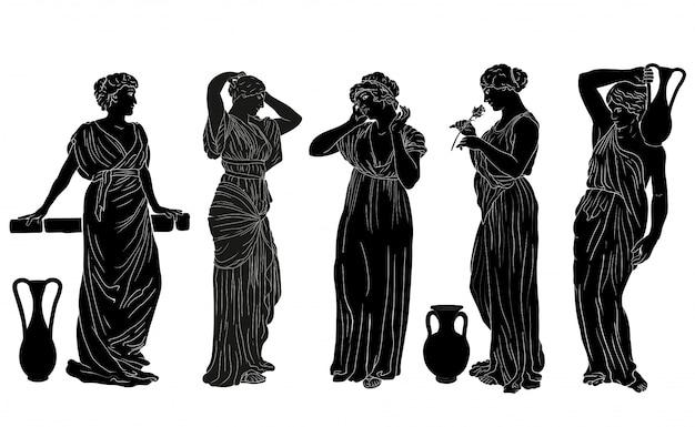 Vector griekse vrouwen. de figuur van een jonge slanke vrouw in een tuniek in de oude griekse stijl.